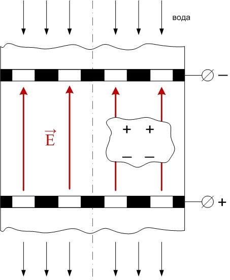 Поляризация зерен в случае противоположного направления потока воды и вектора изображение